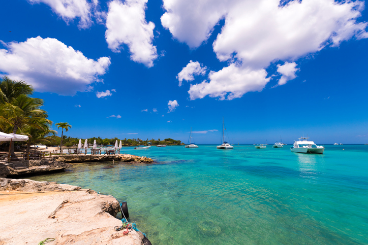 View of the bay and cafe, Bayahibe, La Altagracia, Dominican Republic. Copy space for text.