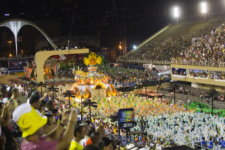 Rio de Janeiro, Brazil - February 19, 2012: Samba school presentation in Sambodrome in Rio de Janeiro carnival. This is one of the most waited big event in town and attracts thousands of tourists from all over the world. The parade is happenning in two consecutive days and the samba schools are always trying their best to impress the judges. Every samba school have a bit more than one hour limit to do his presentation through the seven hundred meter avenue.
