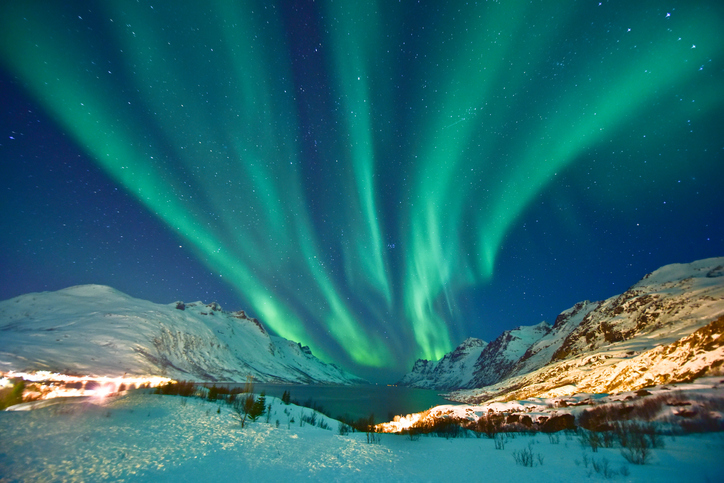 Aurora Borealis in Ersfjordbotn, Tromso Norway during winter season.