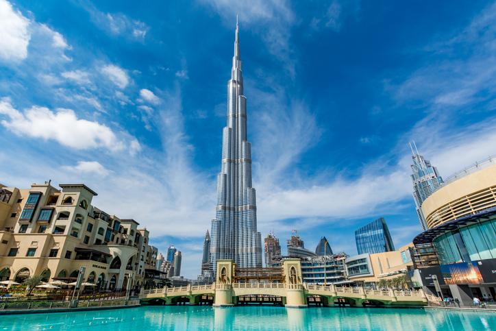 02/06/2017 View of Burj Khalifa on a beautiful day, Dubai, United Arab Emirates