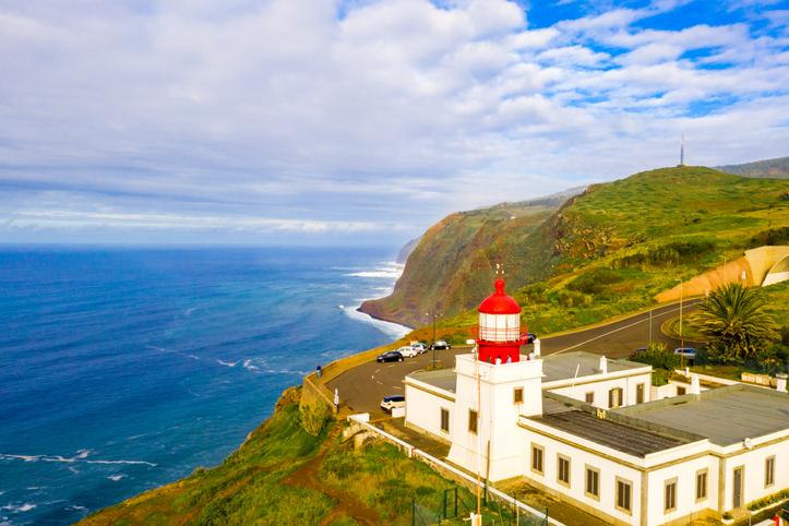 Farol da Ponta do Pargo Ilha da Madeira. Lighthouse Ponta do Pargo - Madeira Portugal - travel background