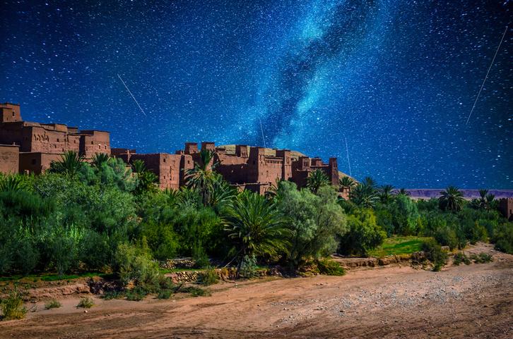 Kasbah Ait Ben Haddou in the desert near Atlas Mountains at night, Morocco