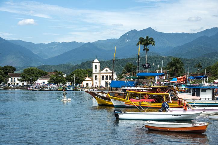 Rio de Janeiro, February, 15, 2016 - Tourist boats waiting for tourists near the Church Igreja de Santa Rita de Cassia in Paraty, state Rio de Janeiro, Brazil