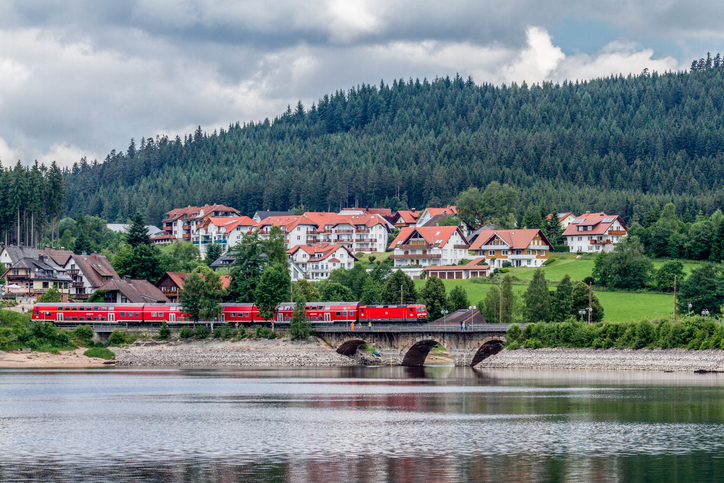Schluchsee, Germany, June 17, 2015 - A train of the Deutsche Bahn is on the Schluchsee in the Black Forest on the way.