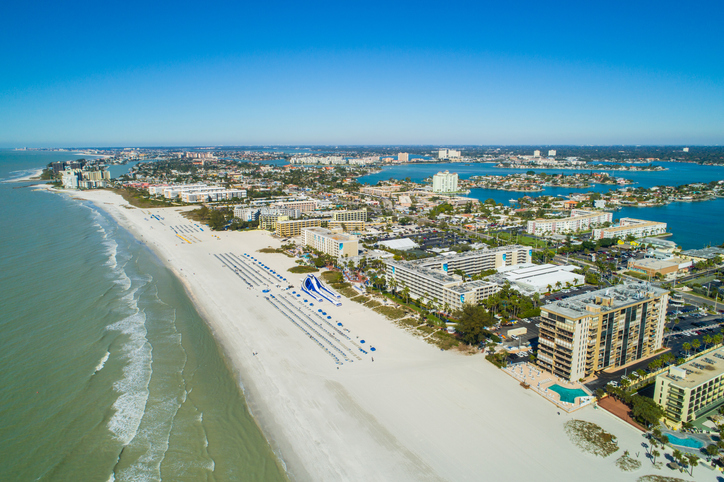 Aerial drone image of hotels and resorts on St Pete Petersburg Beach Florida USA