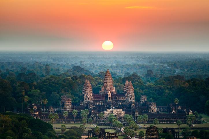 Beautiful aerial view  of Angkor Wat at sunrise. Siem Reap, Cambodia