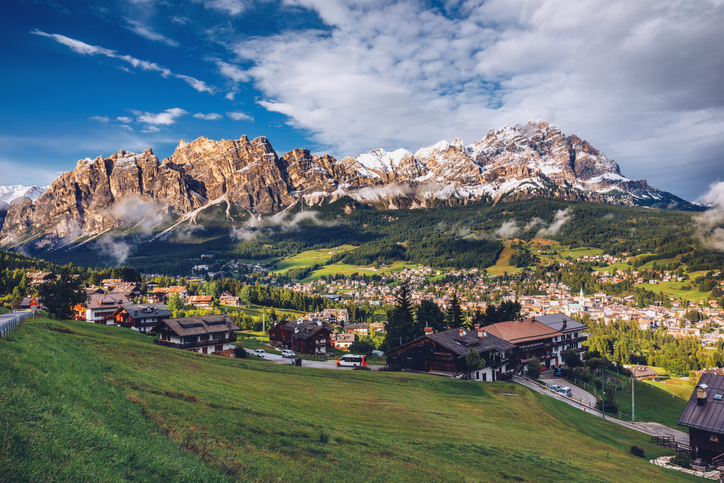View of Cortina D'Ampezzo with Pomagagnon mount in the background, Dolomites, Italy, South Tyrol.