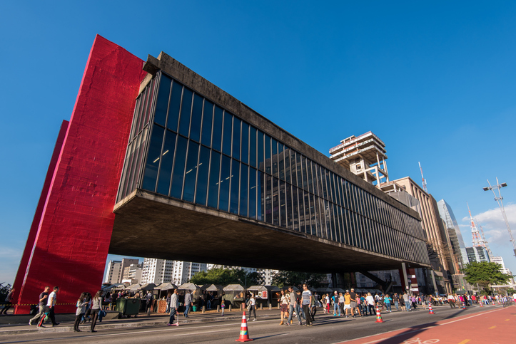 Sao Paulo, Brazil - June 26, 2016: Museum of Art of Sao Paulo (MASP) is the famous spot in Paulista Avenue and is one of the landmarks of the city.