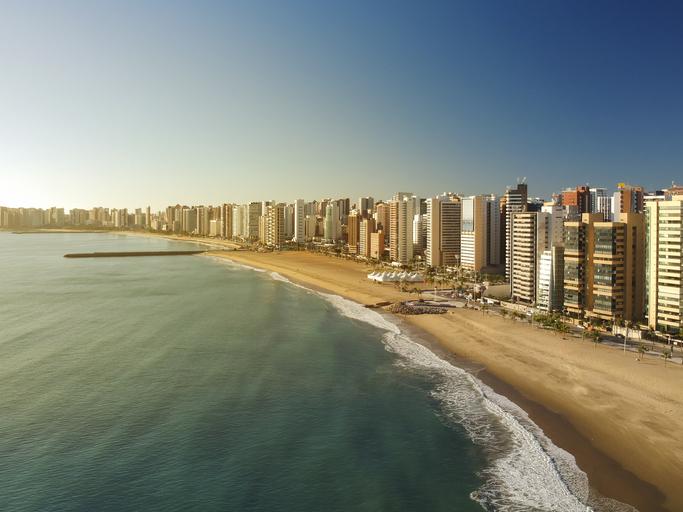 Aerial view of Fortaleza city Beach, Ceara, Brazil.
