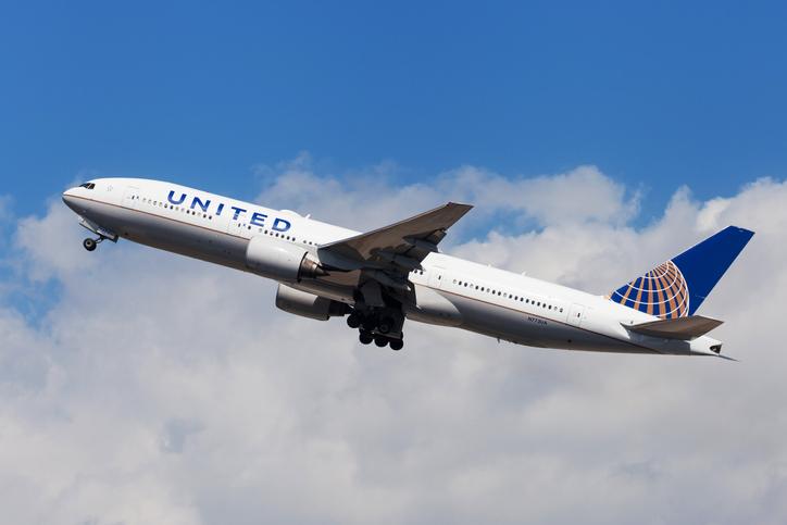 Barcelona, Spain - August 15, 2018: United Airlines Boeing 777-200 taking off from El Prat Airport in Barcelona, Spain.