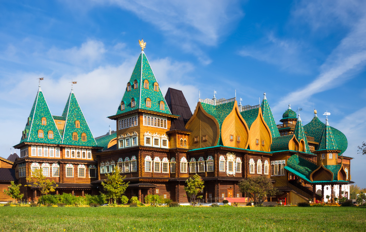 Moscow, Russia - September 27, 2014: Wooden palace of Russian kings in park Kolomenskoye, 16 century, reconstruction. Kolomenskoye is a former royal estate situated several kilometers to the southeast of the city center of Moscow on the ancient road leading to the town of Kolomna.
