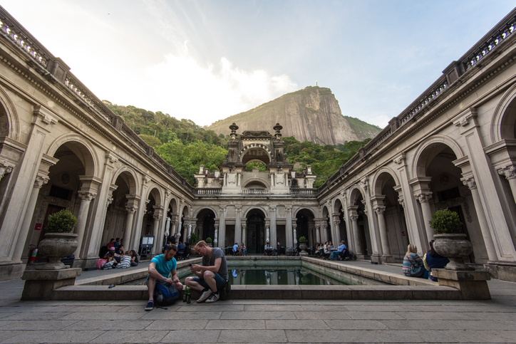 Rio de Janeiro, Brazil - July 8, 2016: Courtyard of the mansion of Parque Lage. Visual Arts School and a cafe are open to the public.