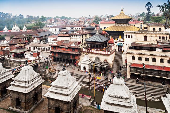 Panorama view of Pashupatinath temple and cremation ghats, Khatmandu