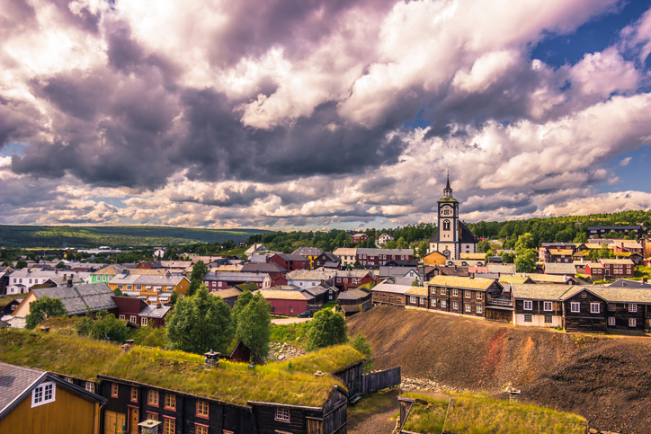 July 27, 2015: Panorama of the town of Roros, Norway
