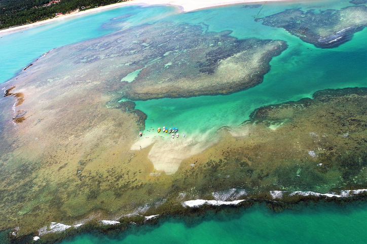 Aerial view of natural pools of São Miguel dos Milagres, Alagoas, Brazil. Fantastic landscape. Great colors and contrast. Beautiful beach scene.