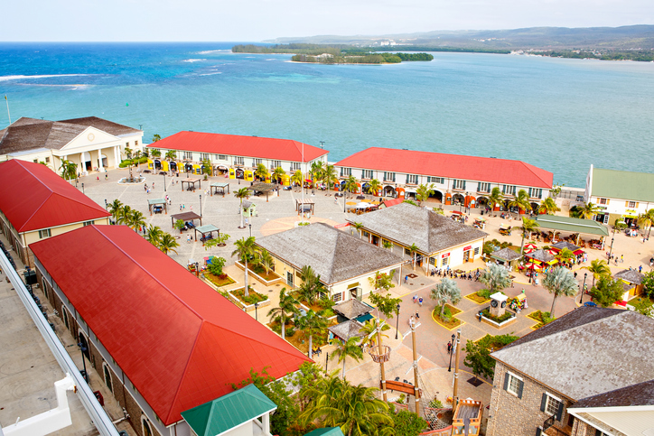 Falmouth port in Jamaica island, the Caribbeans. With old houses and duty free zone. From above, picture from cruise ship liner.