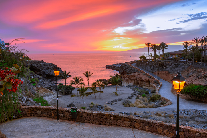 Playa Paraiso, Tenerife, Canary islands, Spain: Beautiful sunset on Playa Las Galgas