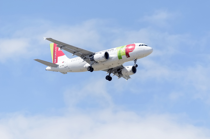 Madrid, Spain - May 23, 2015: Aircraft -Airbus A319-111-, of -TAP Portugal- airline, landing on Madrid-Barajas -Adolfo Suarez- airport, on May 23th 2015.