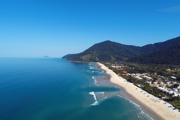 Aerial view of Maresias beaches, Sao Sebastiao, North Coast of Sao Paulo, Brazil. Vacation Travel. Travel destination. Tropical scenery. Great landscape