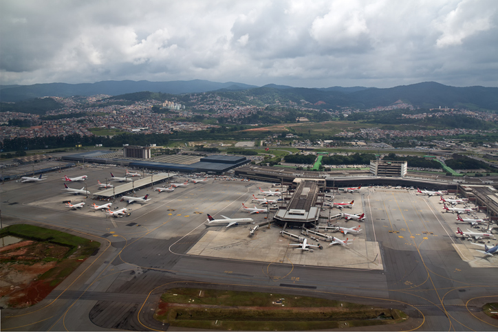 Guarulhos, SP, Brazil - Mar 22, 2015: Aerial view of International airport of Sao Paulo - Guarulhos airport - GRU airport, also knwon as Cumbica airport and Governor Andre Franco Montoro.