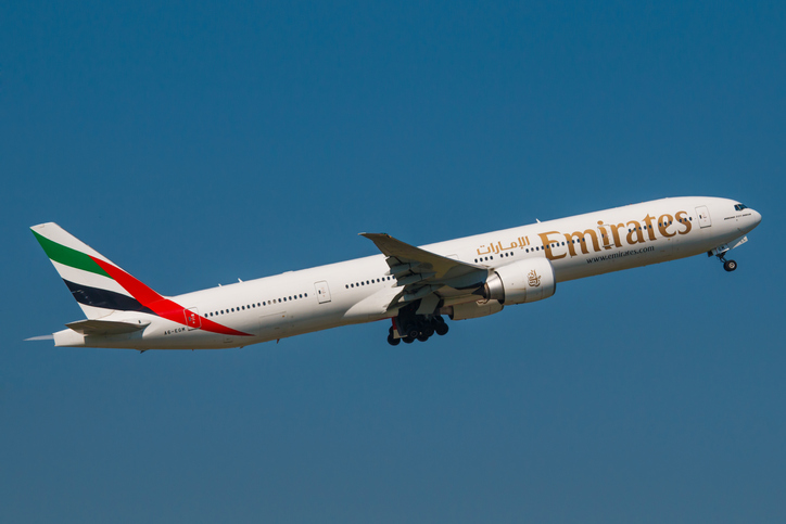 Prague, Czech Republic - June 6, 2015: Boeing 777-300ER Emirates take off from PRG Airport