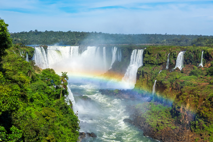 Iguazu Falls, on the border of Brazil, Argentina, and Paraguay.