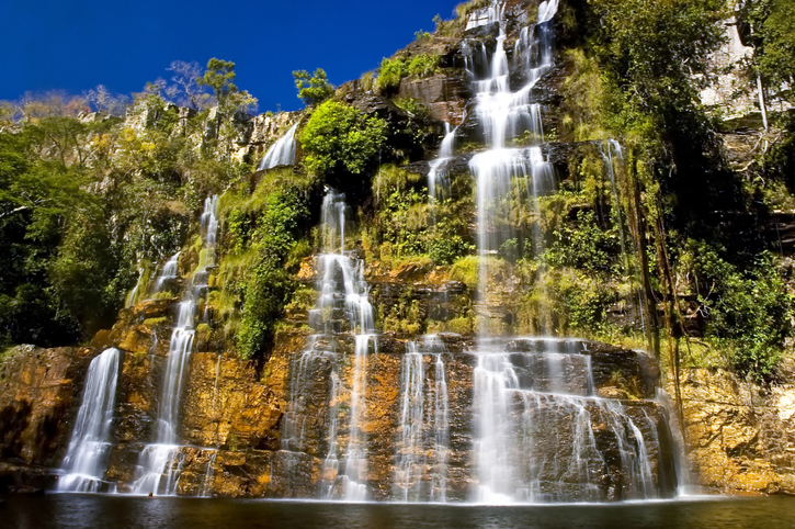 Waterfall near Chapada dos Veadeiros reserve in west-central Brazil