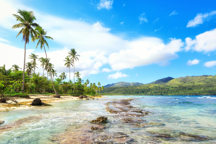 Panorama of famous secluded beach of Rincon, Las Galeras, Dominican Republic