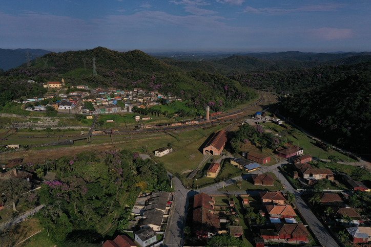 aerial footage of the English railway village of Paranapiacaba