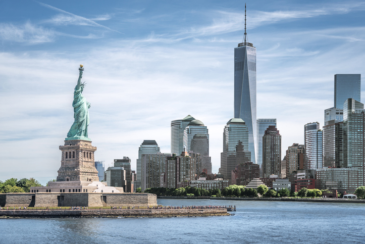 The Statue of Liberty with One World Trade Center background, Landmarks of New York City, USA
