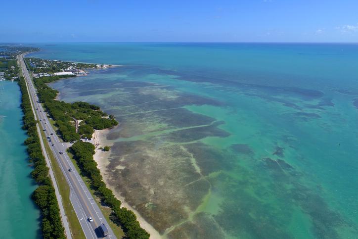 Aerial image of the Overseas Highway in the Florida Keys