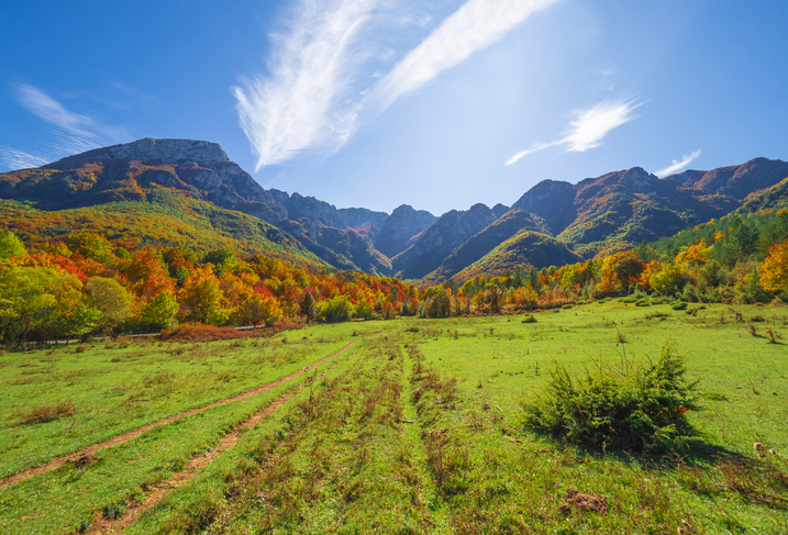 The autumn with foliage in the italian mountain natural reserve, with little towns, wild animals like deer, Barrea Lake, Camosciara, Forca d'Acero