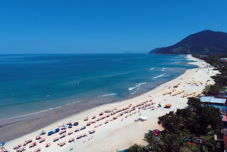 Aerial view of Maresias Beach, São Sebastião, São Paulo, Brazil