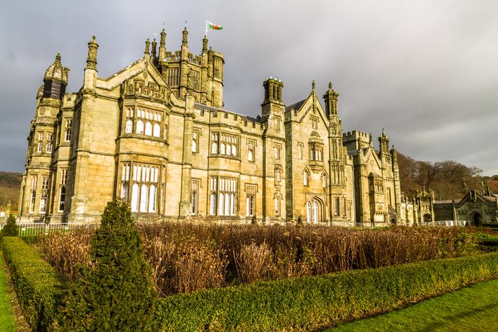 Port Talbot, United Kingdom, Margam Castle, Margam Country Park, Port Talbot, United Kingdom, landscape, wide angle, on December 13 2019 in Wales, United Kingdom