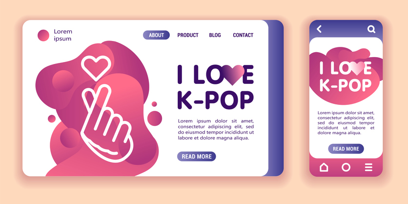 I love K-pop web banner and mobile app kit. Cross platform. Flat vector illustration isolated line icon hand holding hearth and lettering pink flowing liquid shapes background. UI UX template