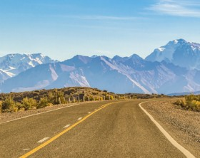 Empty highway at arid landscape environment, san juan province, argentina