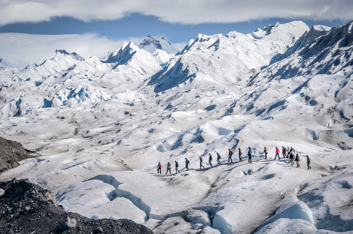 Perito Moreno Glacier is one of the largest glaciers in the Patagonian ice field. In addition to its accessibility, it is also one of the few glaciers in the world that are actively advancing. The glacier begins at the Andes Mountains bordering Argentina and Chile.