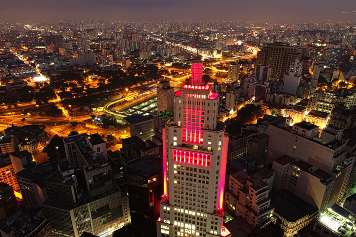 Aerial view of São Paulo, Brazil. Great landscape. Flying during night. São Paulo's downtown.
