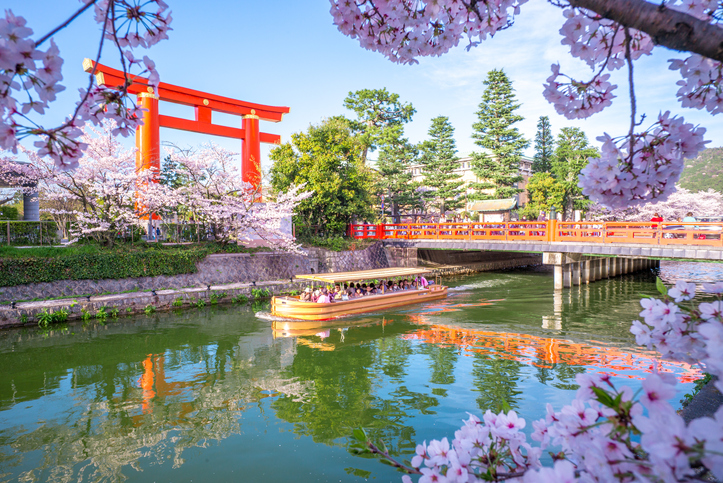 Kyoto, Japan - April 5, 2016: Heian Jingu's Torii and Okazaki Canal with cherry blossom. Okazaki Canal connects the Lake Biwa Canal network with Kamo River