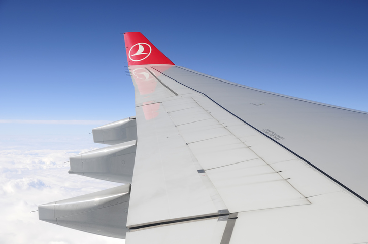 Istanbul, Turkey - July 12, 2012: Left wing of THY aeroplane flying over the clouds, THY; Turkish Airlines  is the national flag carrier airline of Turkey.
