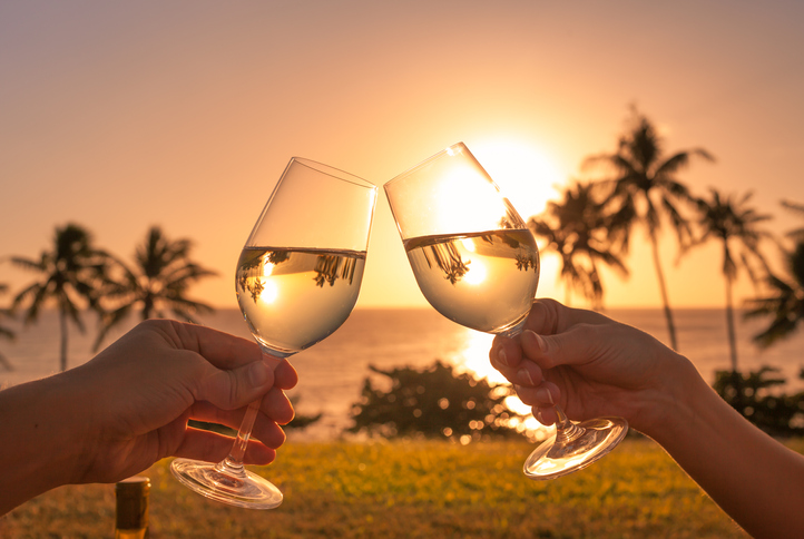Cheers in a beautiful beach setting.