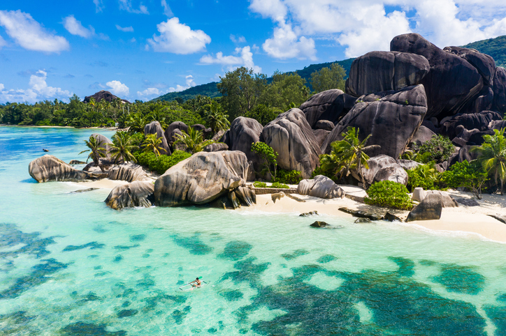 Beautiful beach with white sand on a tropical island in the Seychelles